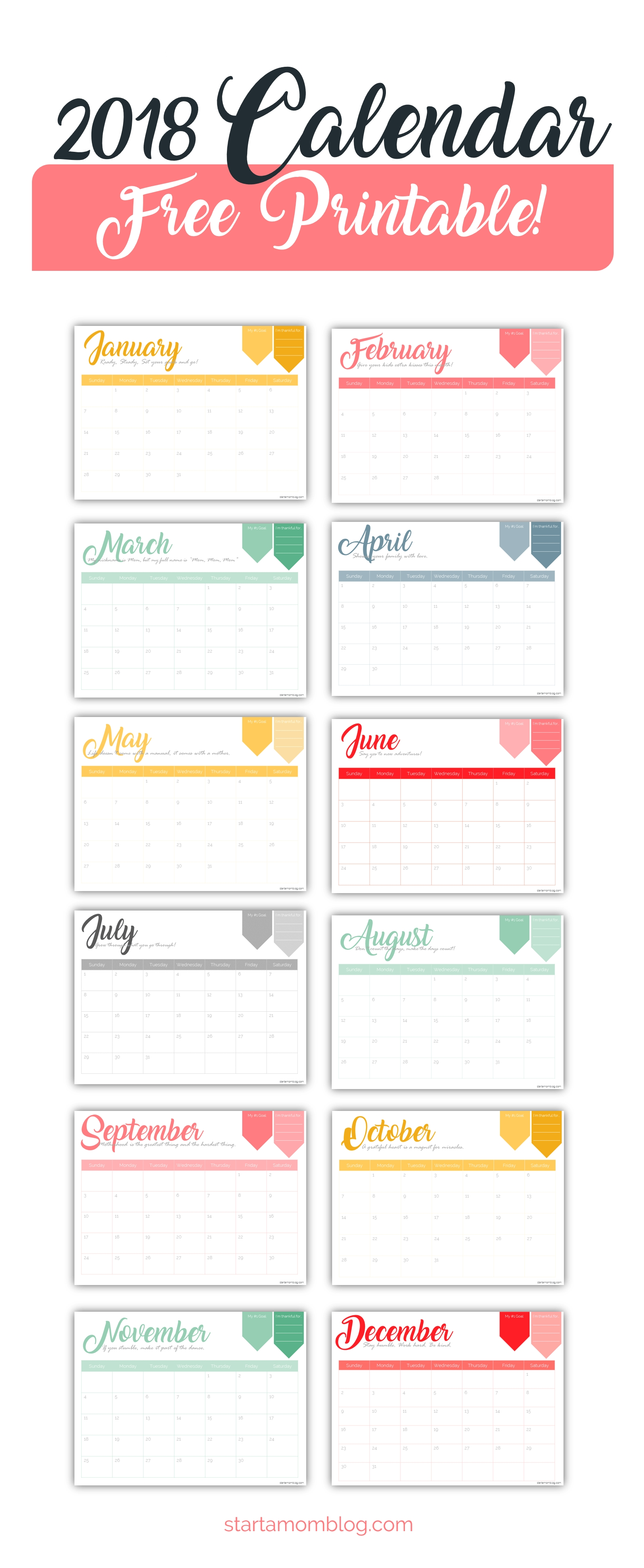 2018 Calendar Template Free Printable - Start A Mom Blog