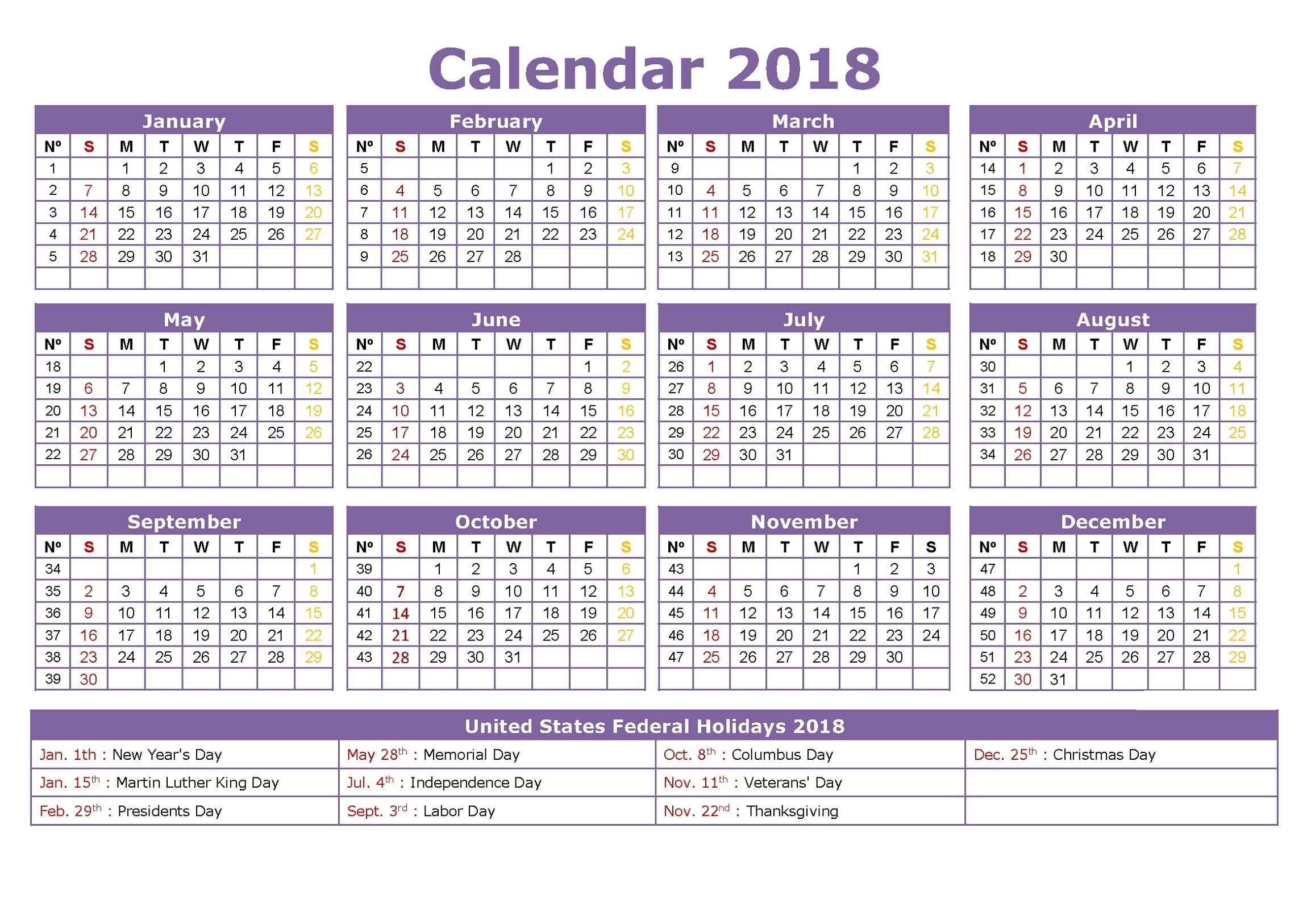 2018 Calendar With Week Numbers Printable | Calendar Shelter