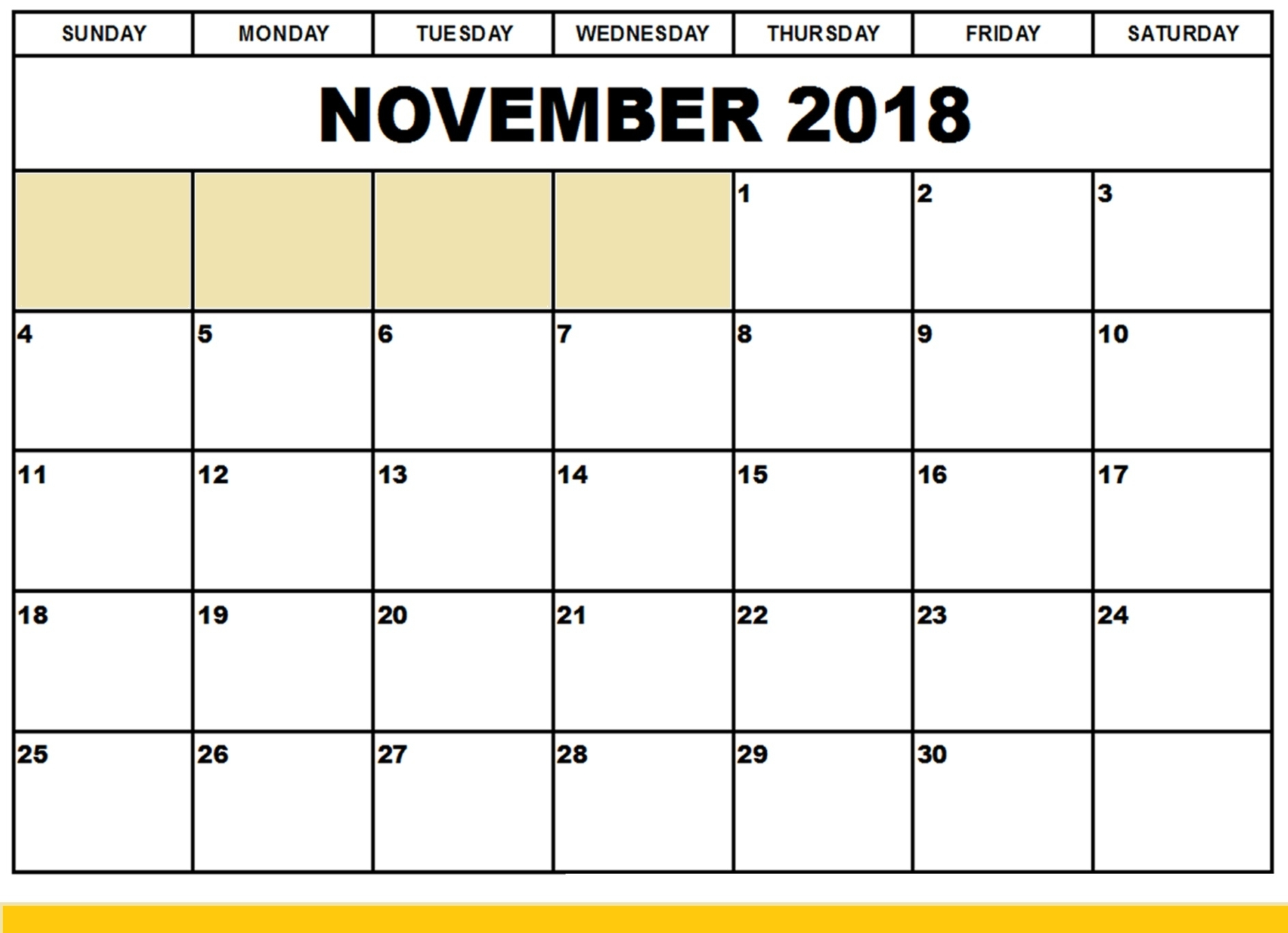 2018 November Calendar Printableweek And Dates