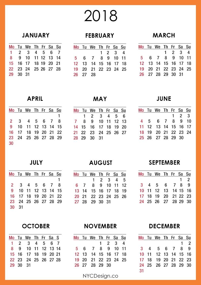 2018 Printable Monthly Calendar | Printable Calendar