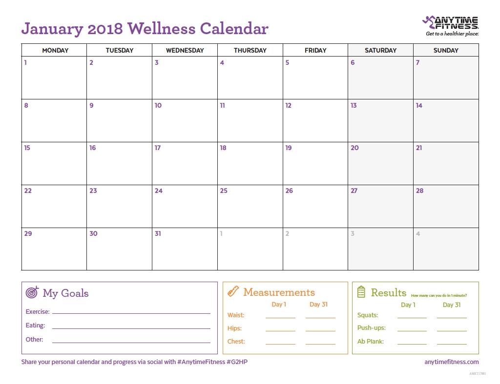 2018 Wellness Calendar For Active Planning & Progress