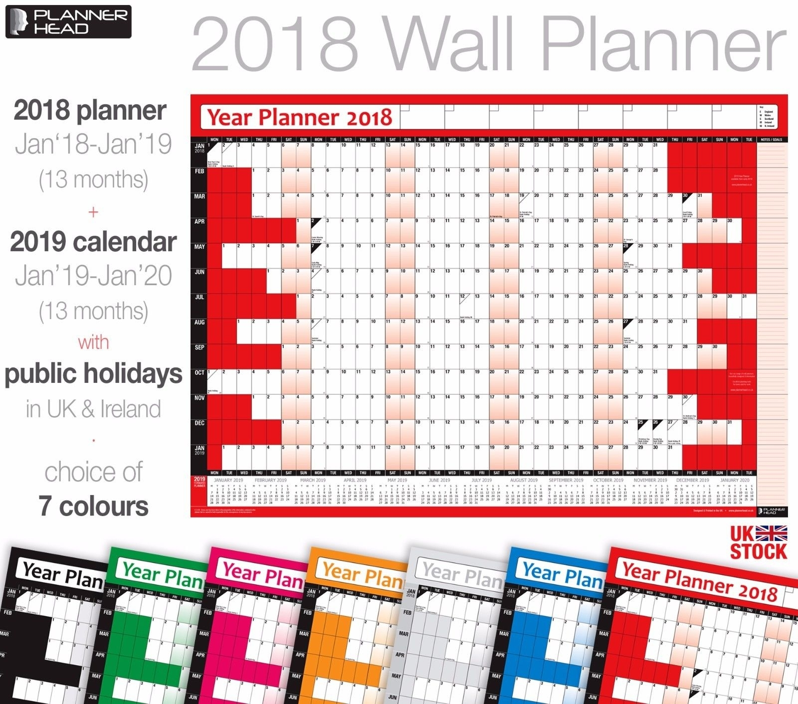 2018 Yearly Planner Calendar Wall Chart Planner With 2019 Calender ✔Home  ✔Office
