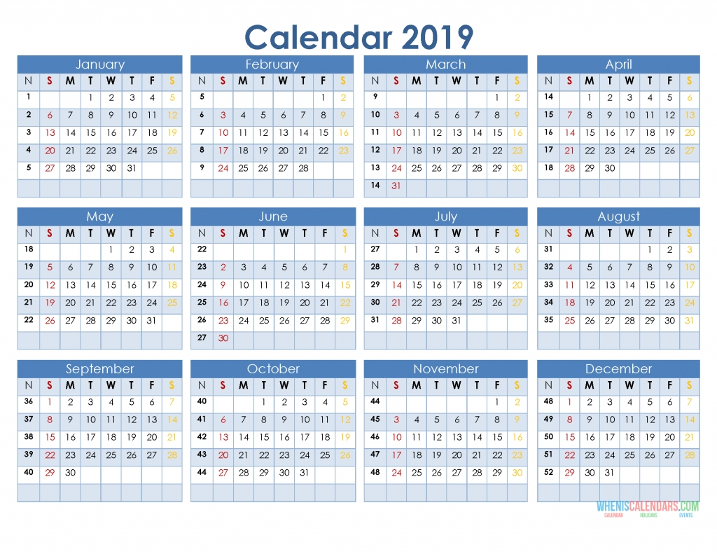 2019 12 Month Calendar Template In A One Page Printable