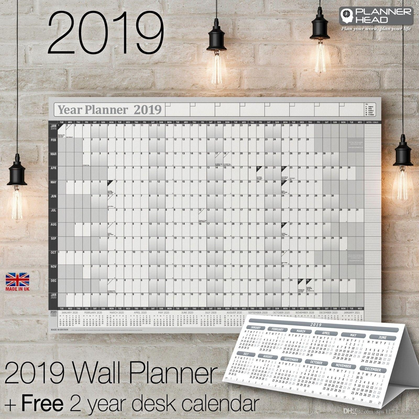 2019 2019 Yearly Planner Annual Wall Chart Year Planner & A Free Wall Chart  2 Year Desk Calendar From Sjw1124282212, $20.11 | Dhgate