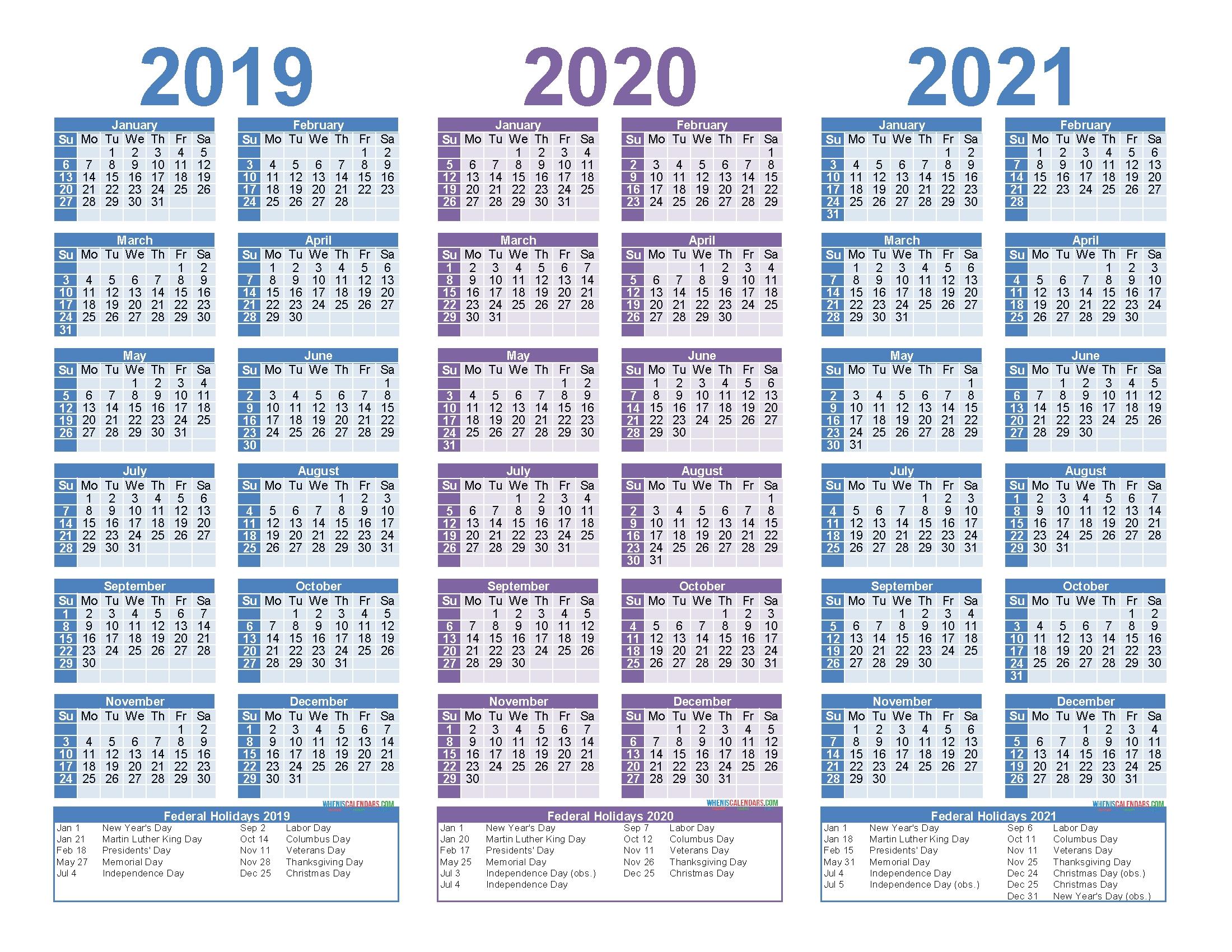 2019 2020 2021 Free Calendar Template 3 Year Calendar
