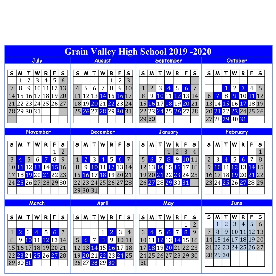 2019-2020 A-B Calendar And Important Dates - Grain Valley