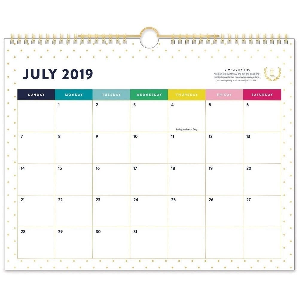 2019-2020 Academic Wall Calendar Gold/white Polka Dots