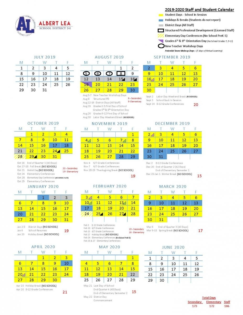 2019-2020 Approved Calendar | Albert Lea Area Schools