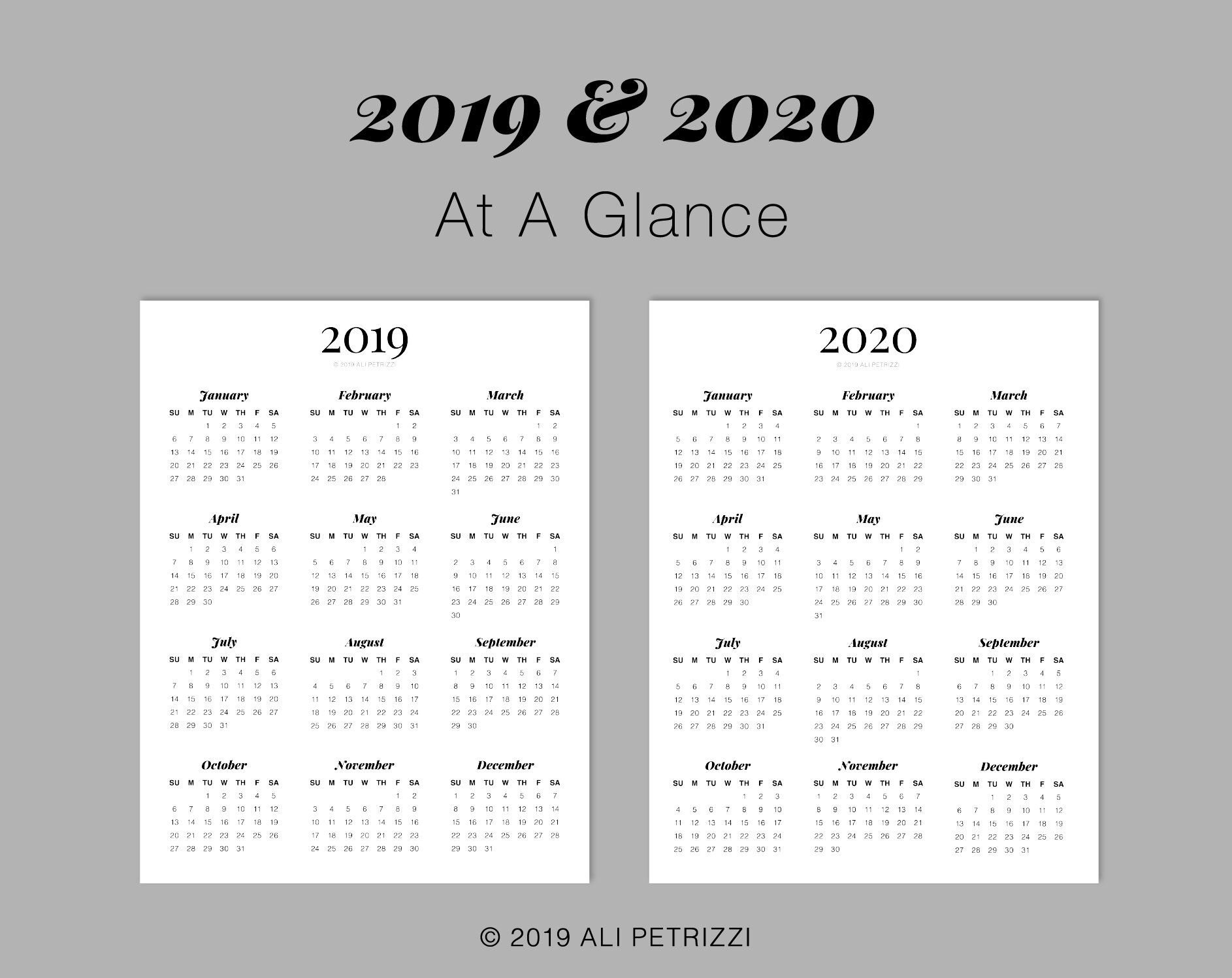 2019 & 2020 At A Glance, Printable Calendar, Year View