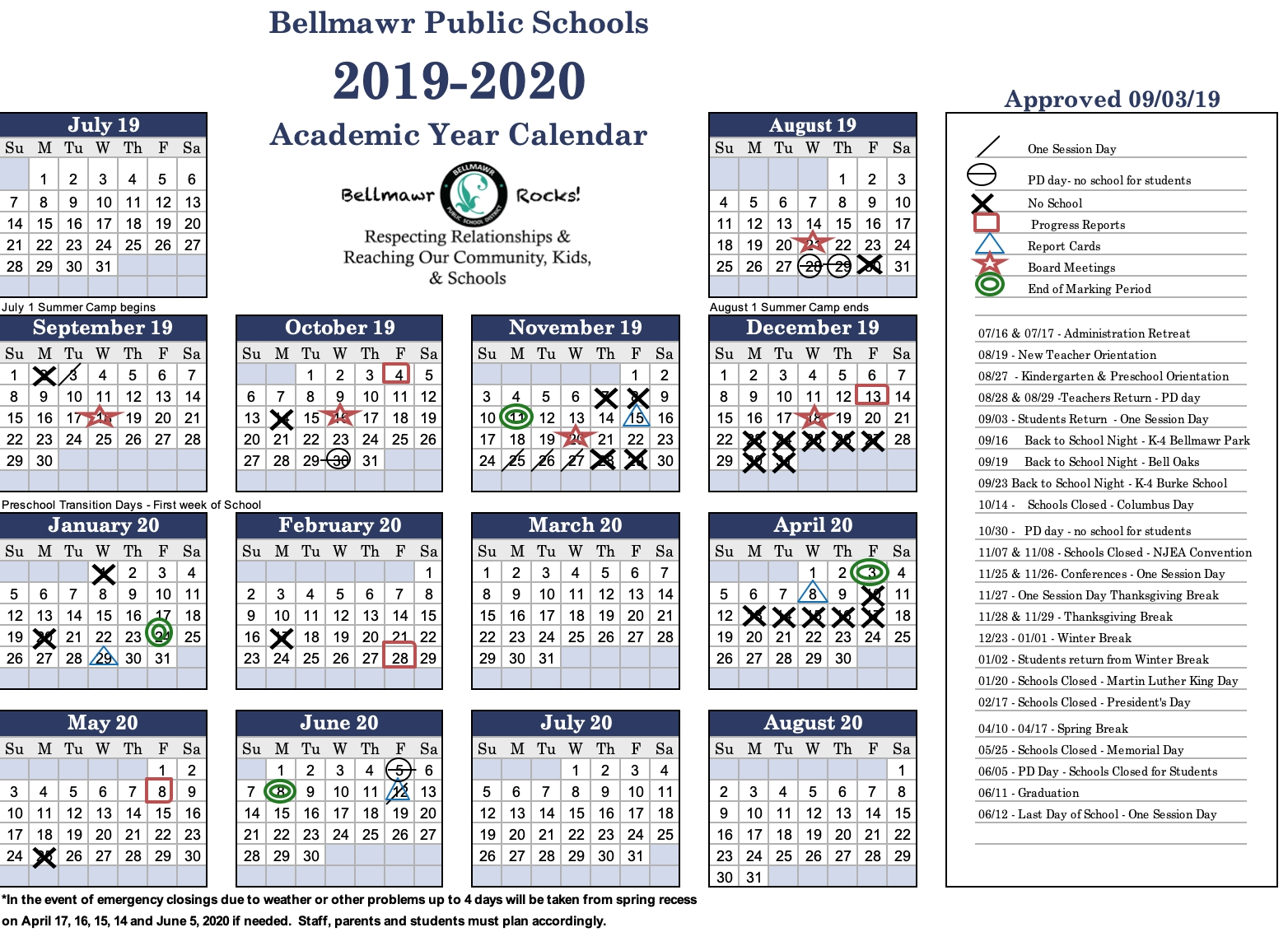 2019- 2020 Calendar - Bellmawr Public School District