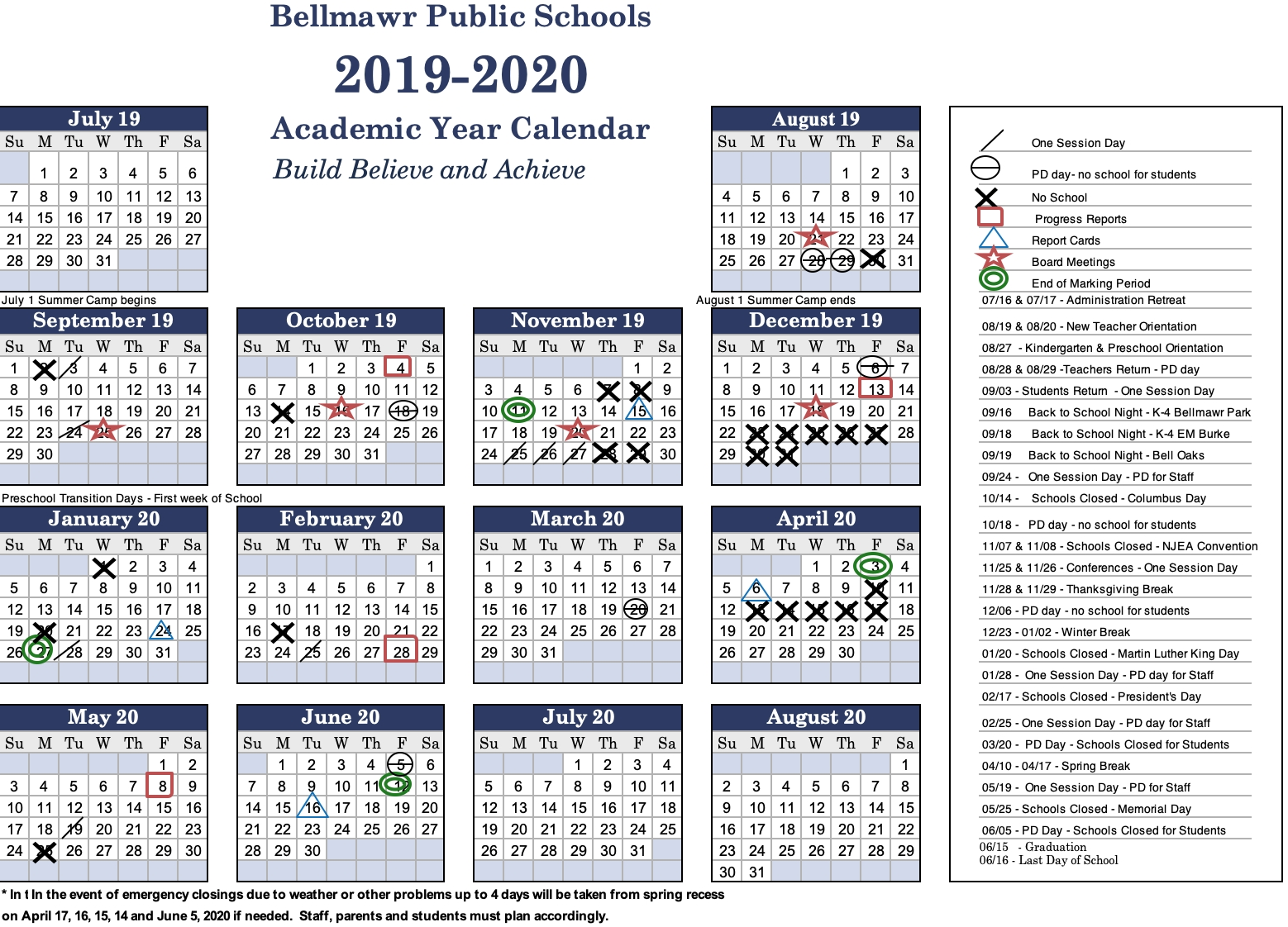2019 -2020 Calendar - Bellmawr Public School District