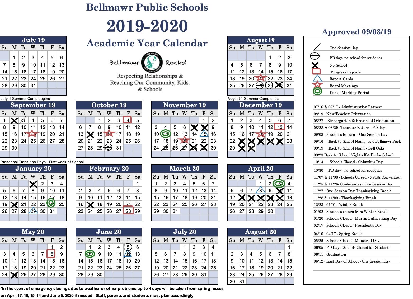 2019- 2020 Calendar - Bellmawr Public School District