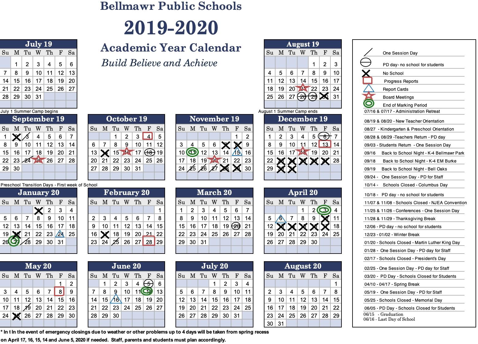 2019 -2020 Calendar - Bellmawr Public School District