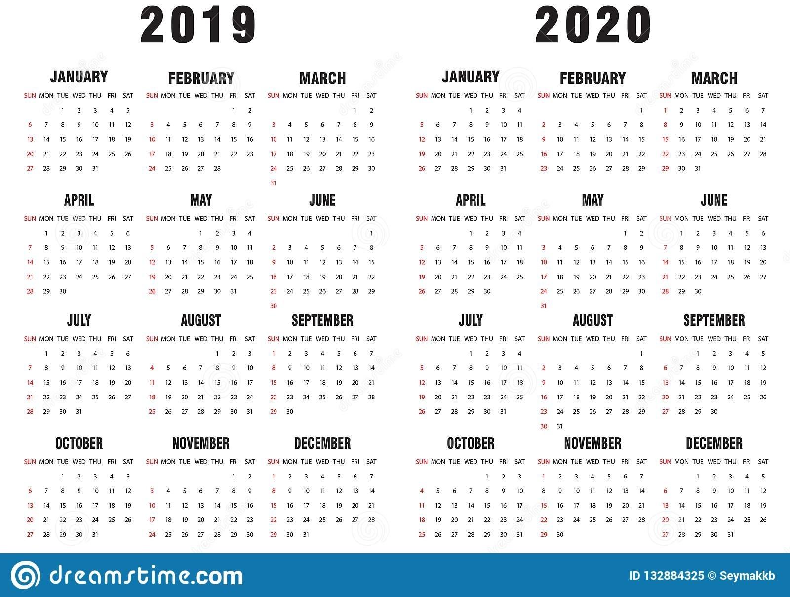 2019-2020 Calendar Black And White Stock Vector