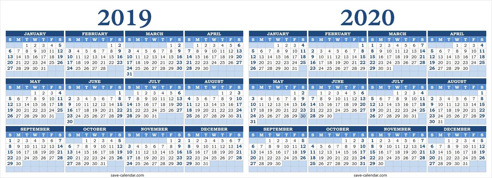 2019 2020 Calendar Blank | Templates Printable Free, 2020