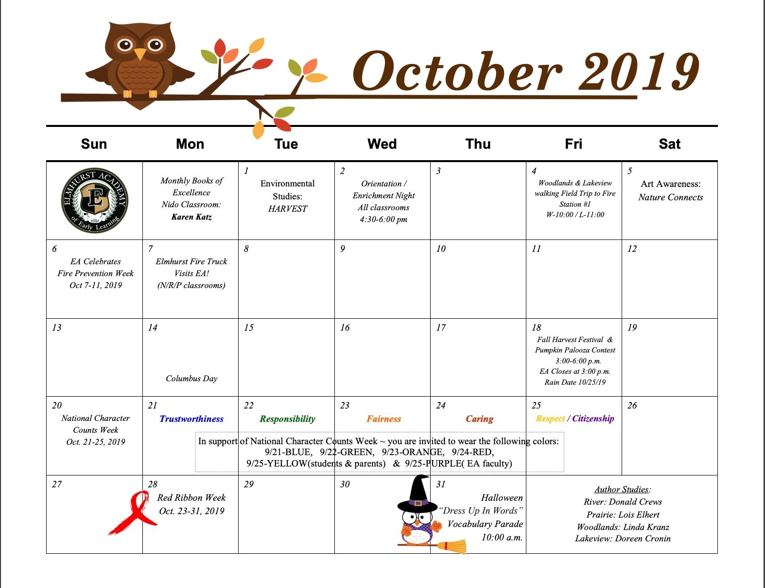 2019-2020 Calendar | Elmhurstacademy