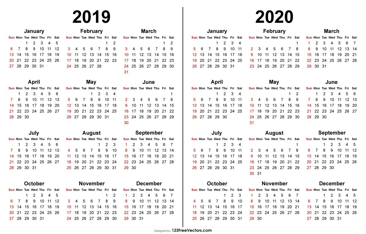 2019 2020 Calendar | Free Printable Calendar Templates