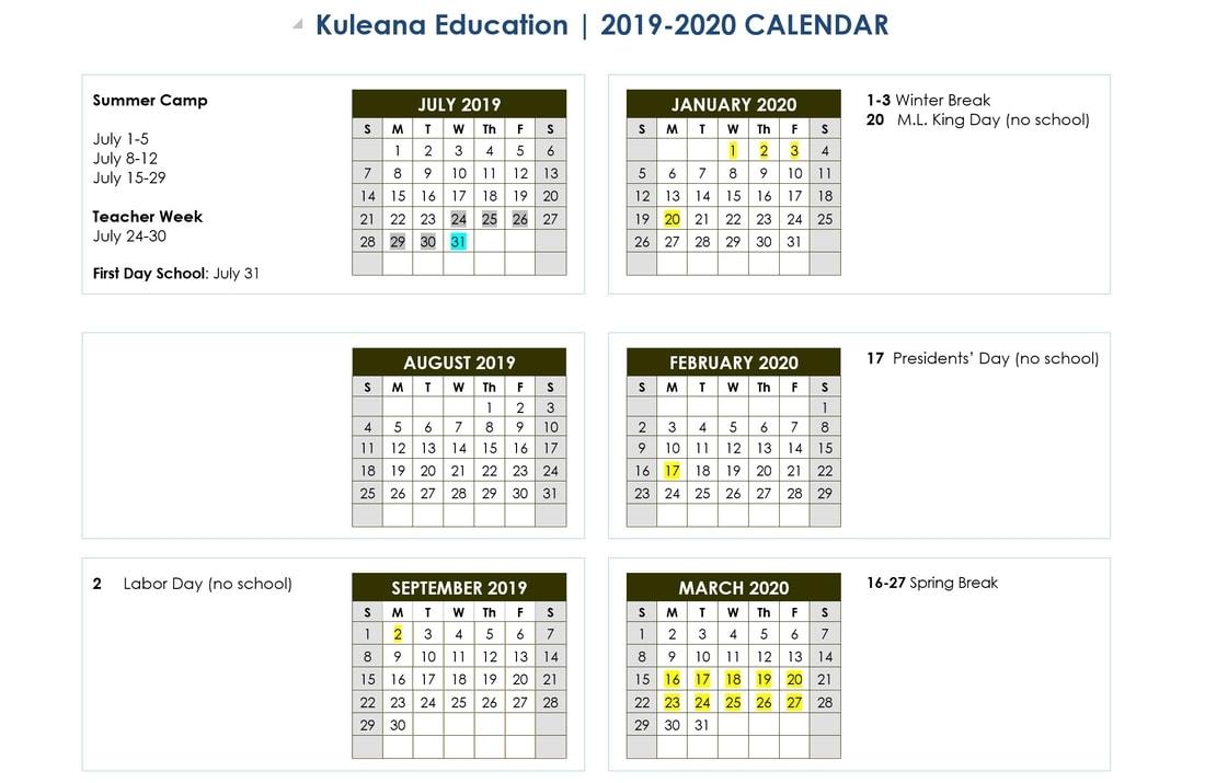 2019-2020 Calendar - Kuleana Education Academy