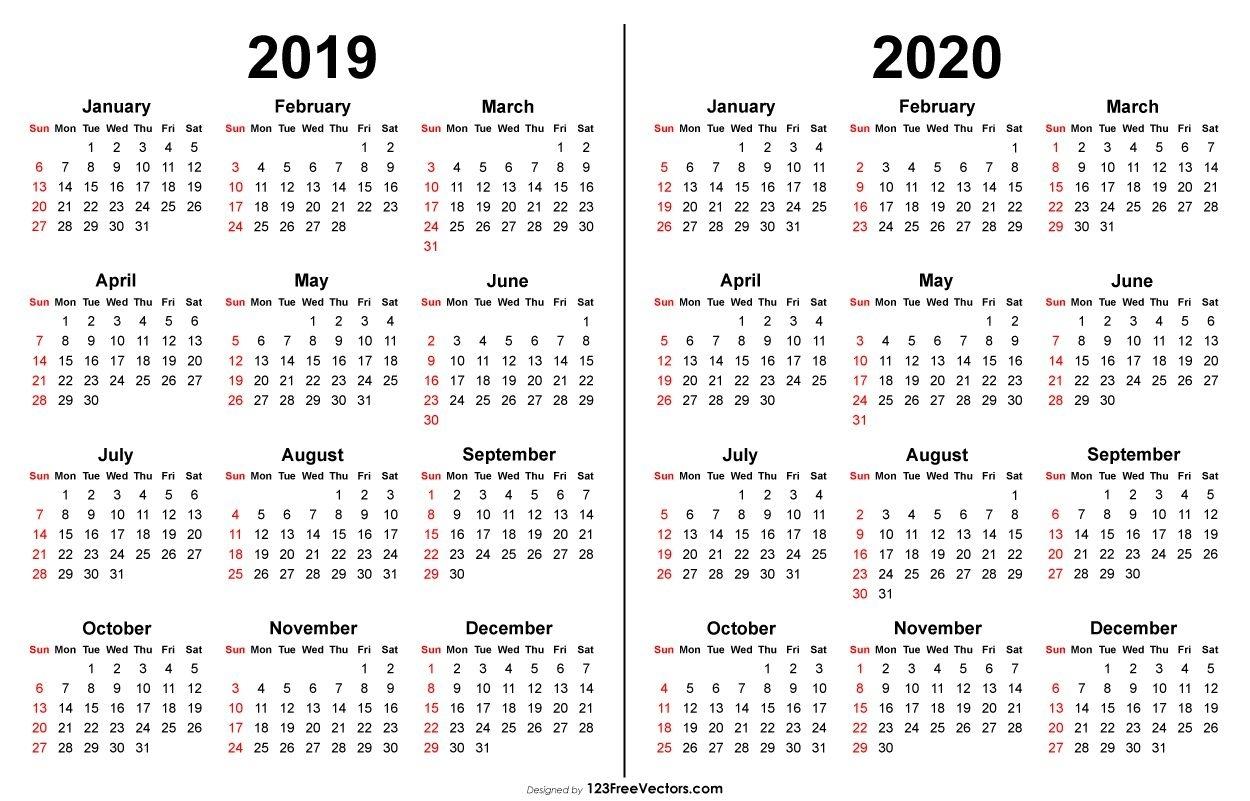 2019 2020 Calendar   Printable Calendar Template, Print