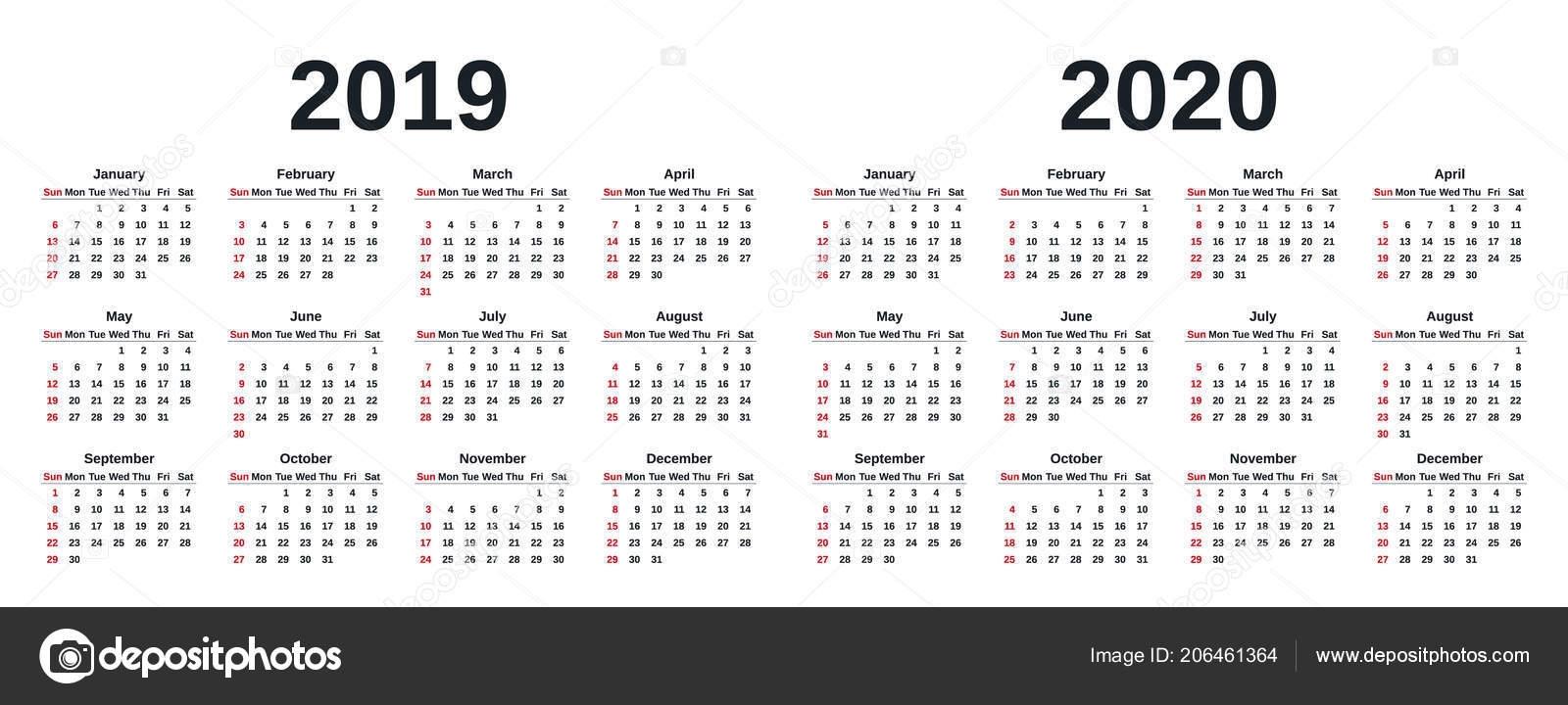2019 2020 Calendar Vector Graphics Week Starts Sunday Design