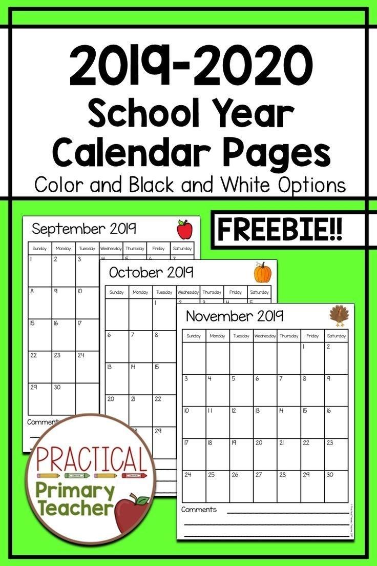2019-2020 Calendars Free | Teacher Calendar, Classroom