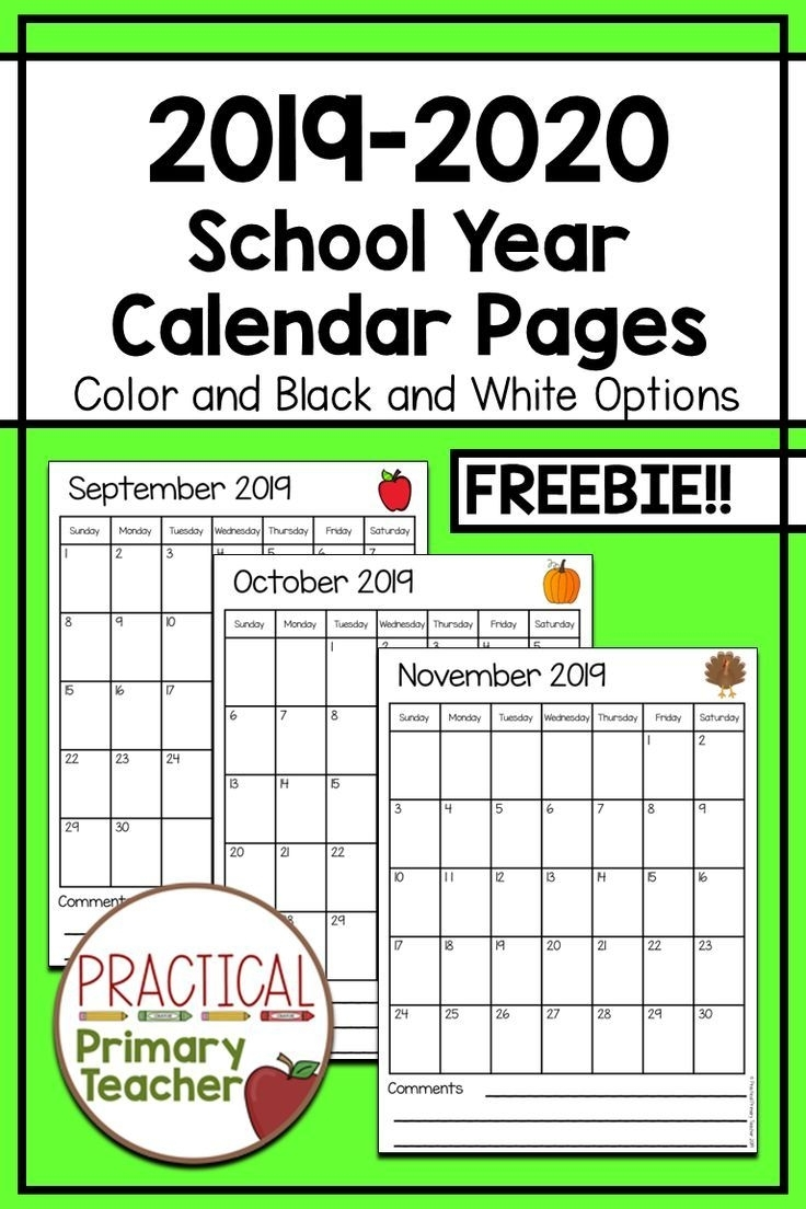 2019-2020 Calendars Free | Teacher Calendar, Classroom