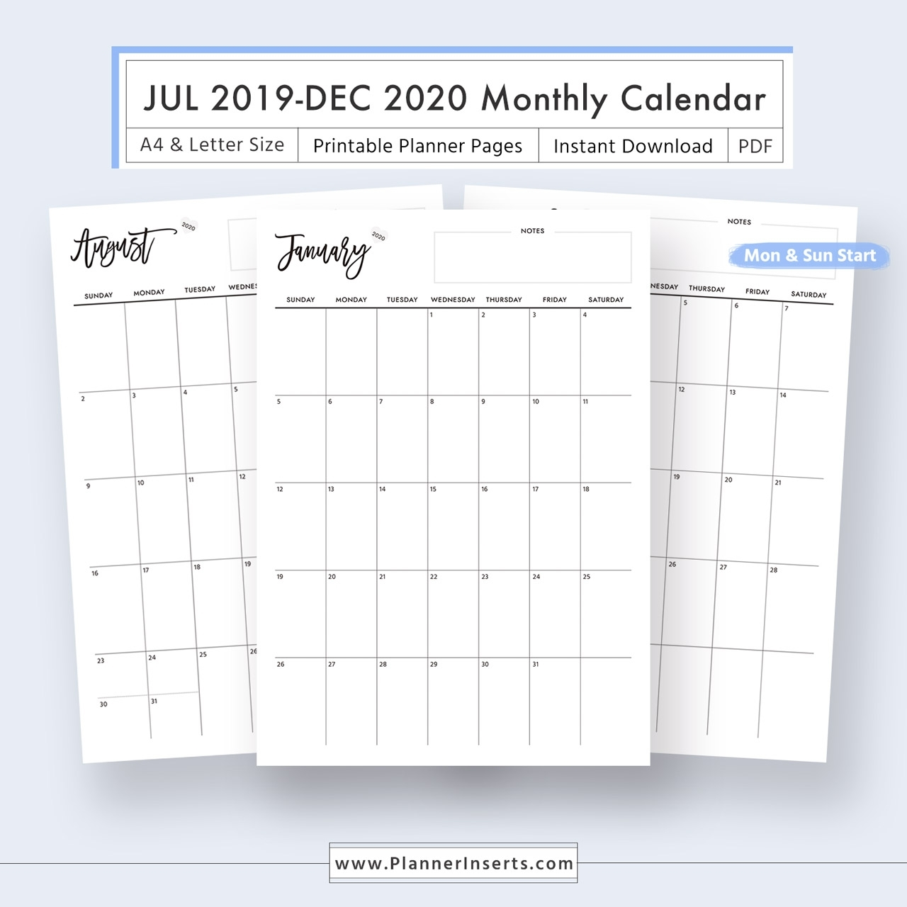 2019-2020 Dated Monthly Calendar For Unlimited Instant Download - Digital  Printable Planner Inserts In .pdf Format - A4 & Letter Size - Monthly
