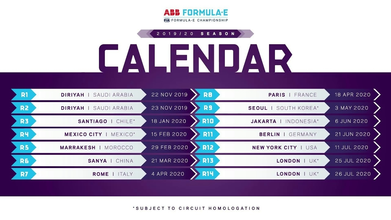 2019 - 2020 Formula E Calendar Officially Released