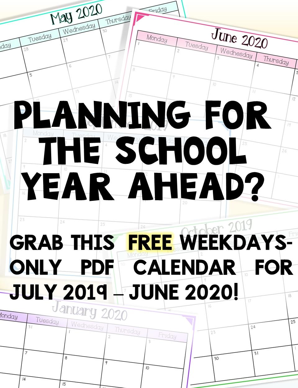 2019-2020 Free School Year Calendar (Weekdays Only