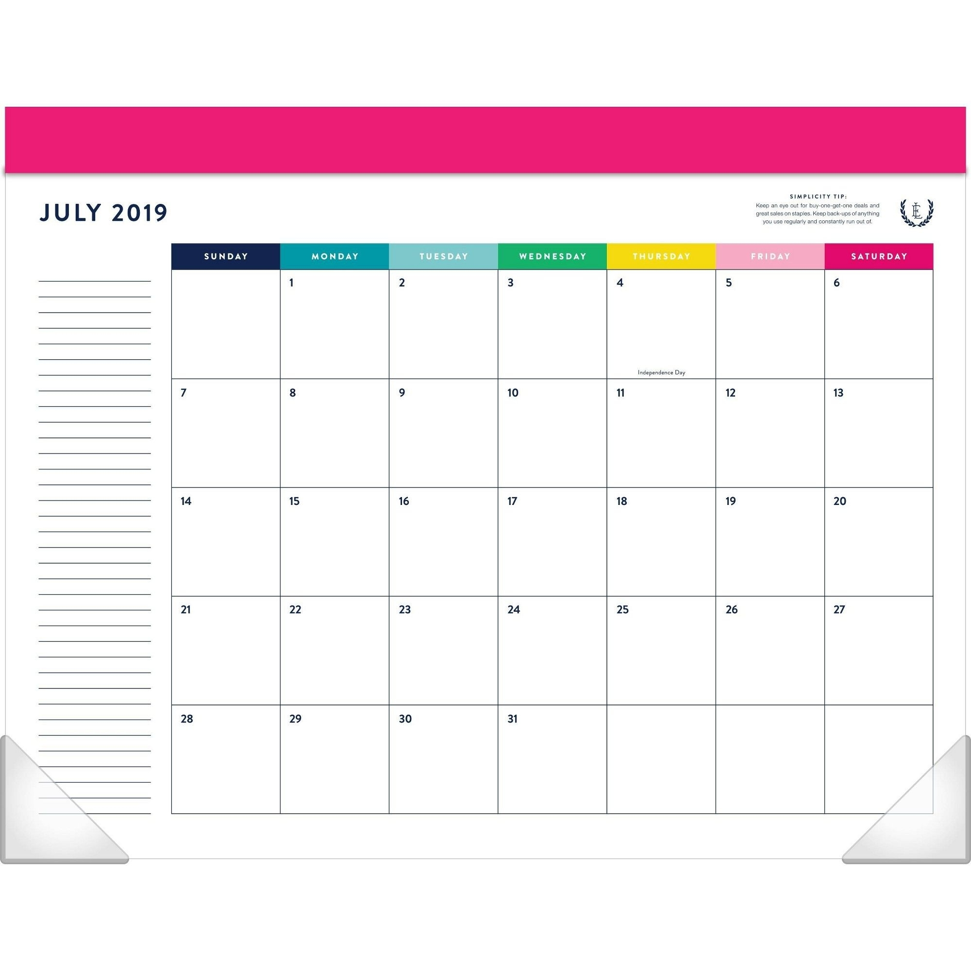 2019-2020 Happy Stripe Academic Desktop Calendar - Emily Ley