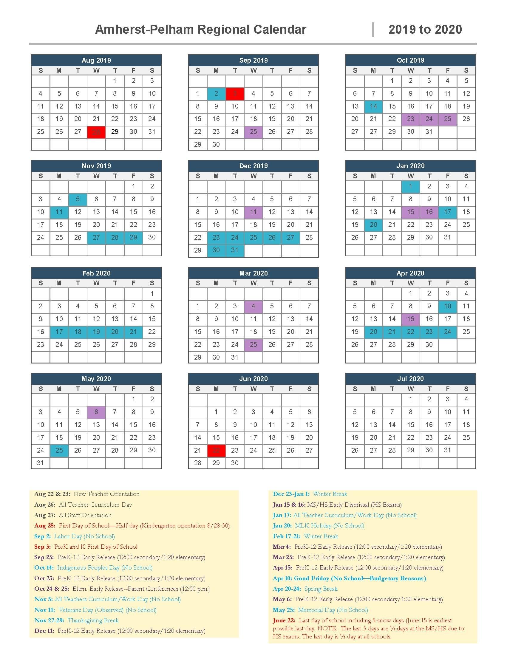 2019-2020 School Calendar Approved | Amherst-Pelham Regional