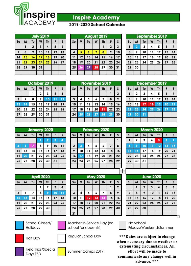 2019-2020 School Calendar — Inspire Academy