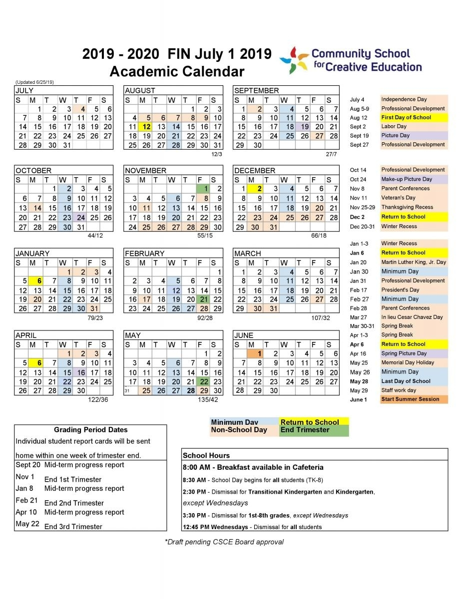 2019-2020 School Year Calendar | Community School For