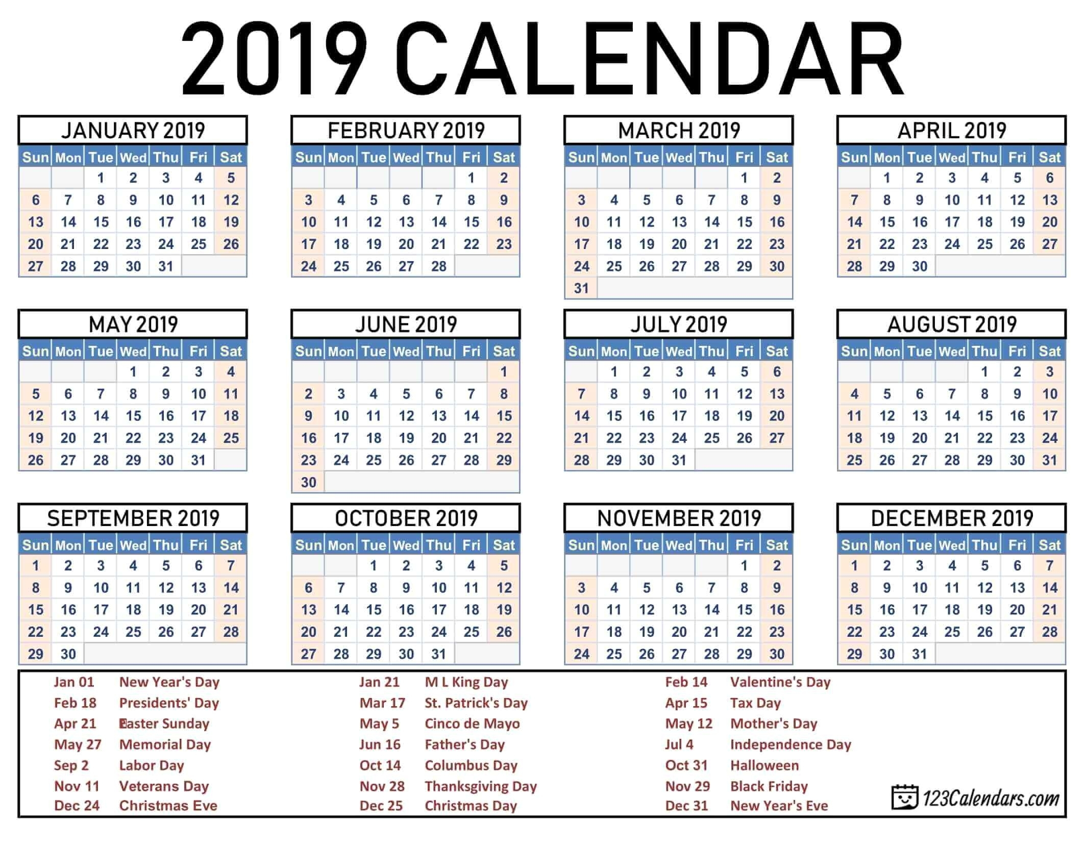 2019 2020 School Year Calendar Template Year 2019 Printable
