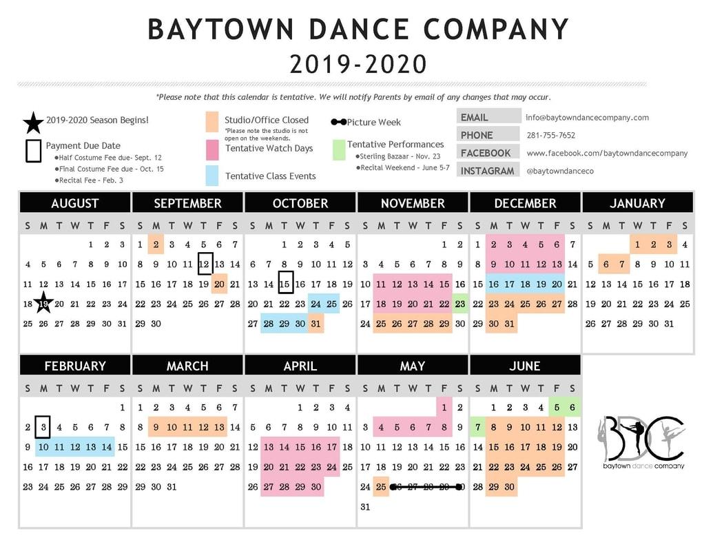 2019-2020 Tentative Bdc Calendar - Baytown Dance Company