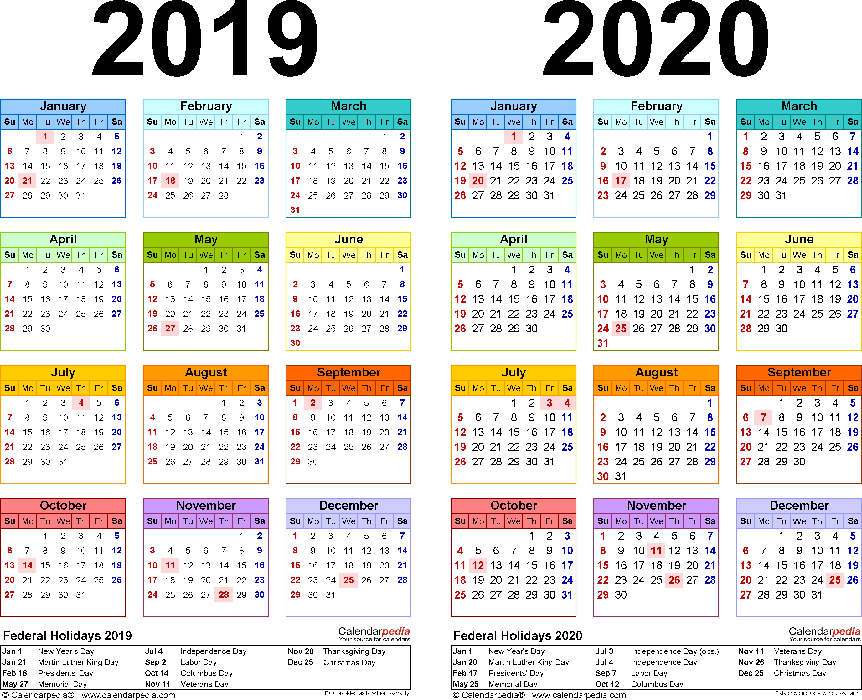 2019-2020 Two Year Calendar - Free Printable Word Templates