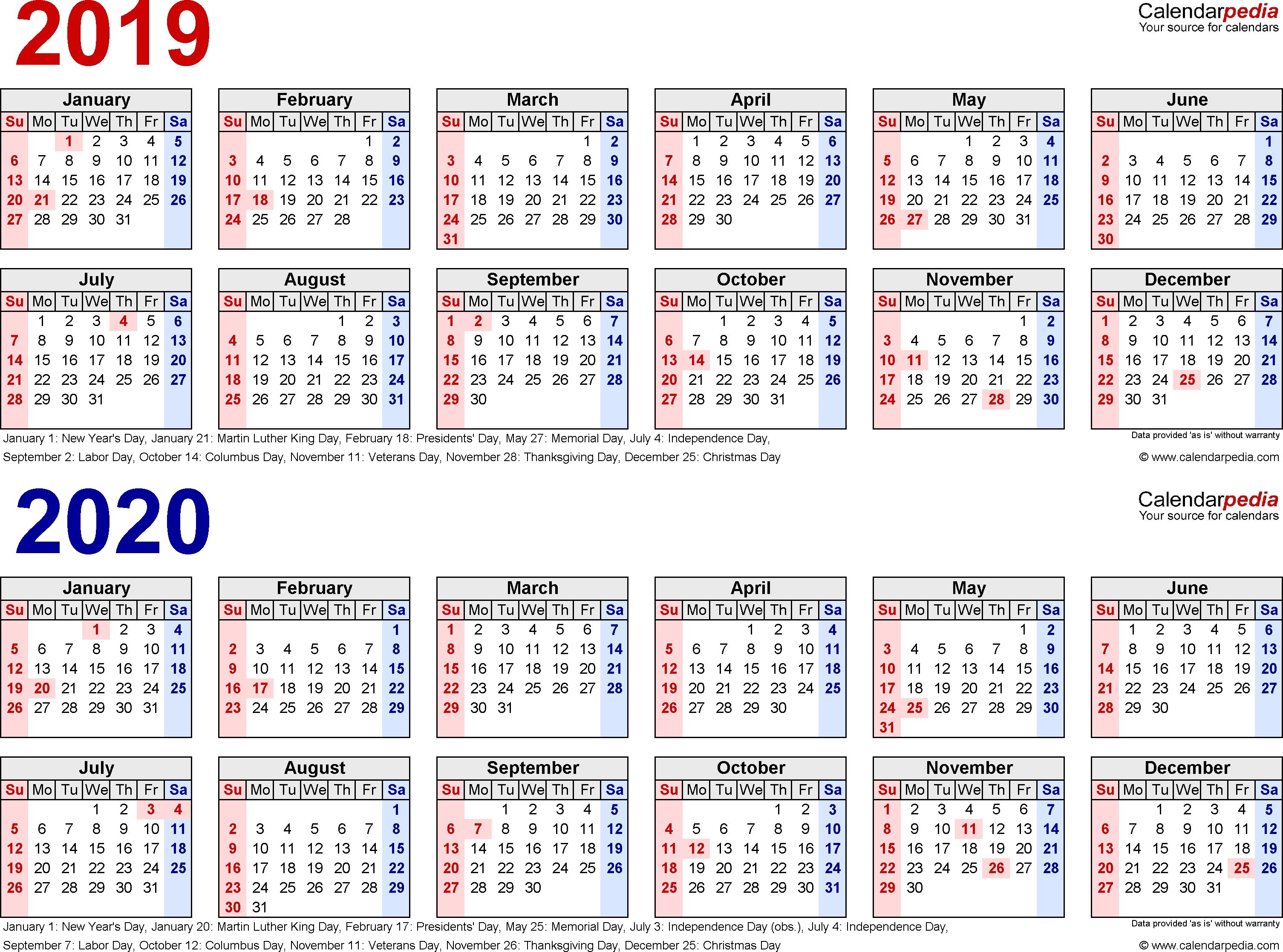 2019-2020 Two Year Calendar - Free Printable Word Templates