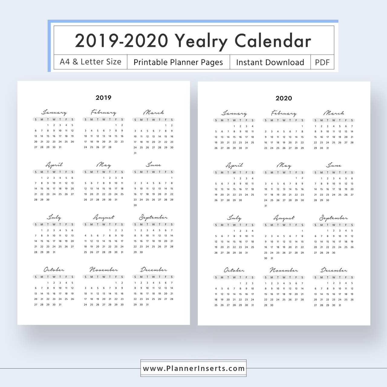 2019-2020 Yearly Calendar For Unlimited Instant Download - Digital  Printable Planner Inserts In .pdf Format - A4 & Letter Size -Year At A  Glance,