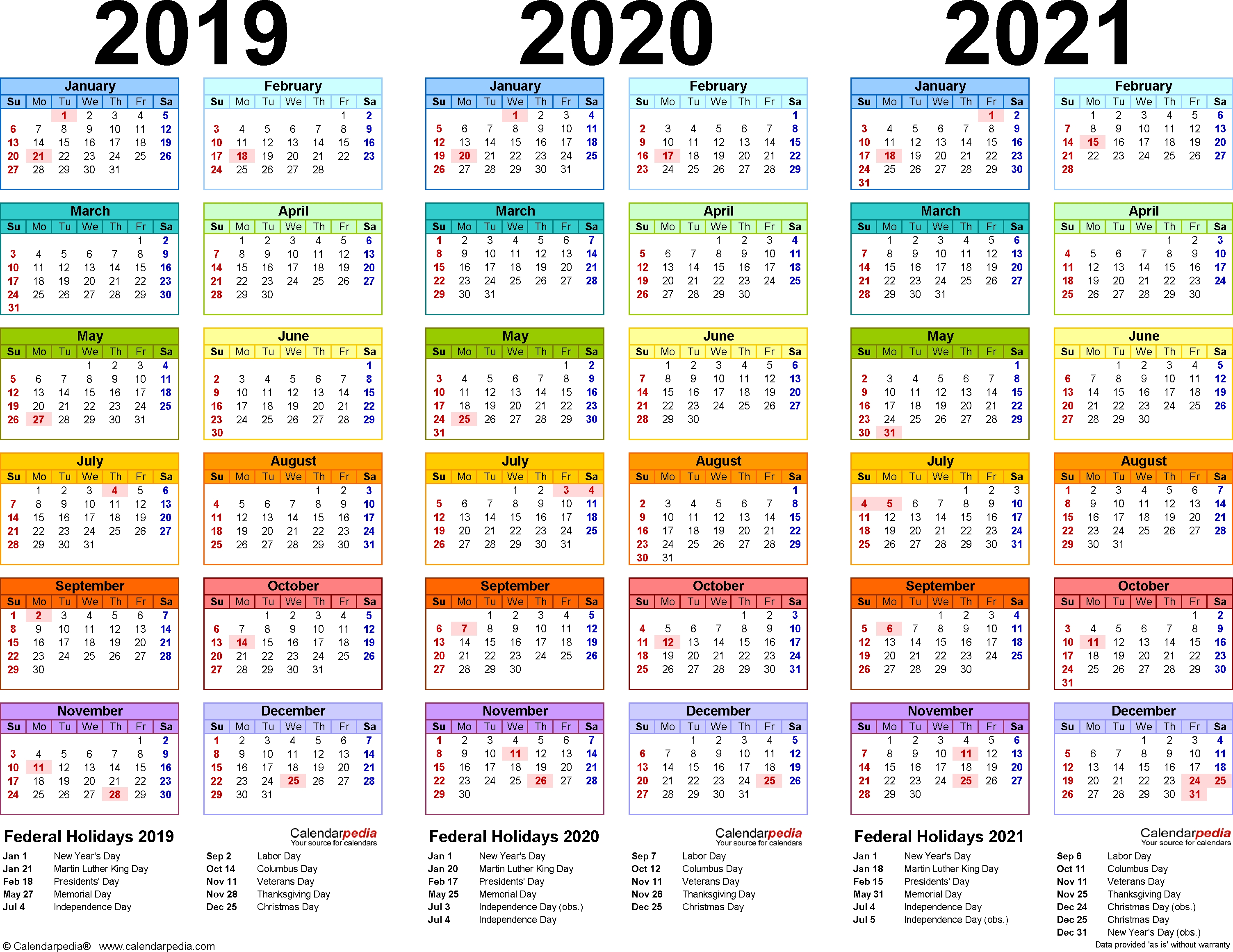 2019-2021 Three Year Calendar - Free Printable Excel Templates