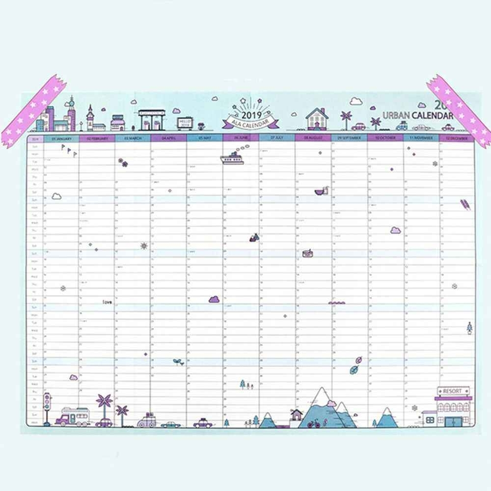 2019 365Days Paper Wall Calendar Office School Daily Planner Notes, Very  Large Study New Year Plan Schedule 43*58Cm