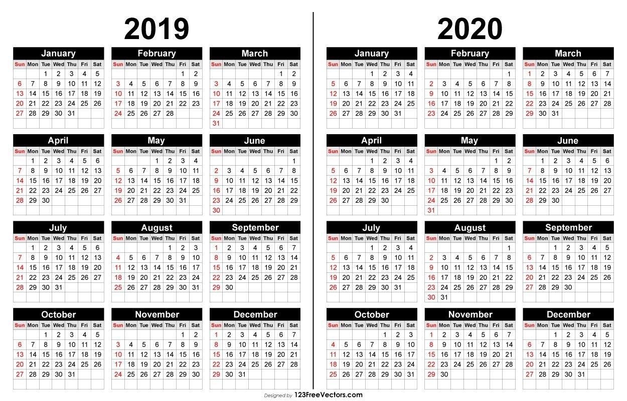 2019 And 2020 Calendar Printable | 2021 Calendar, Printable
