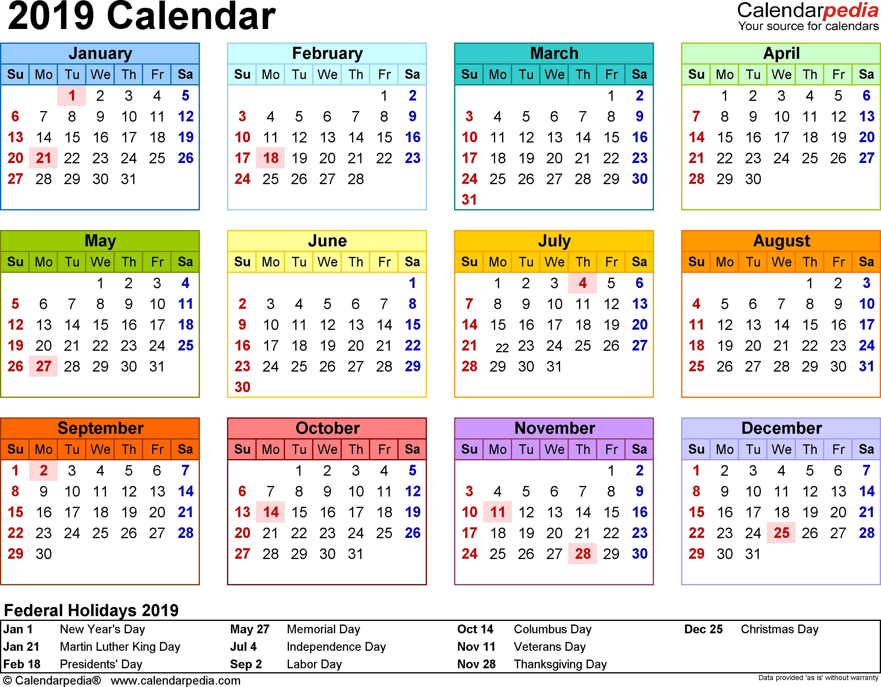 2019 Calendar - 18 Free Printable Word Calendar Templates