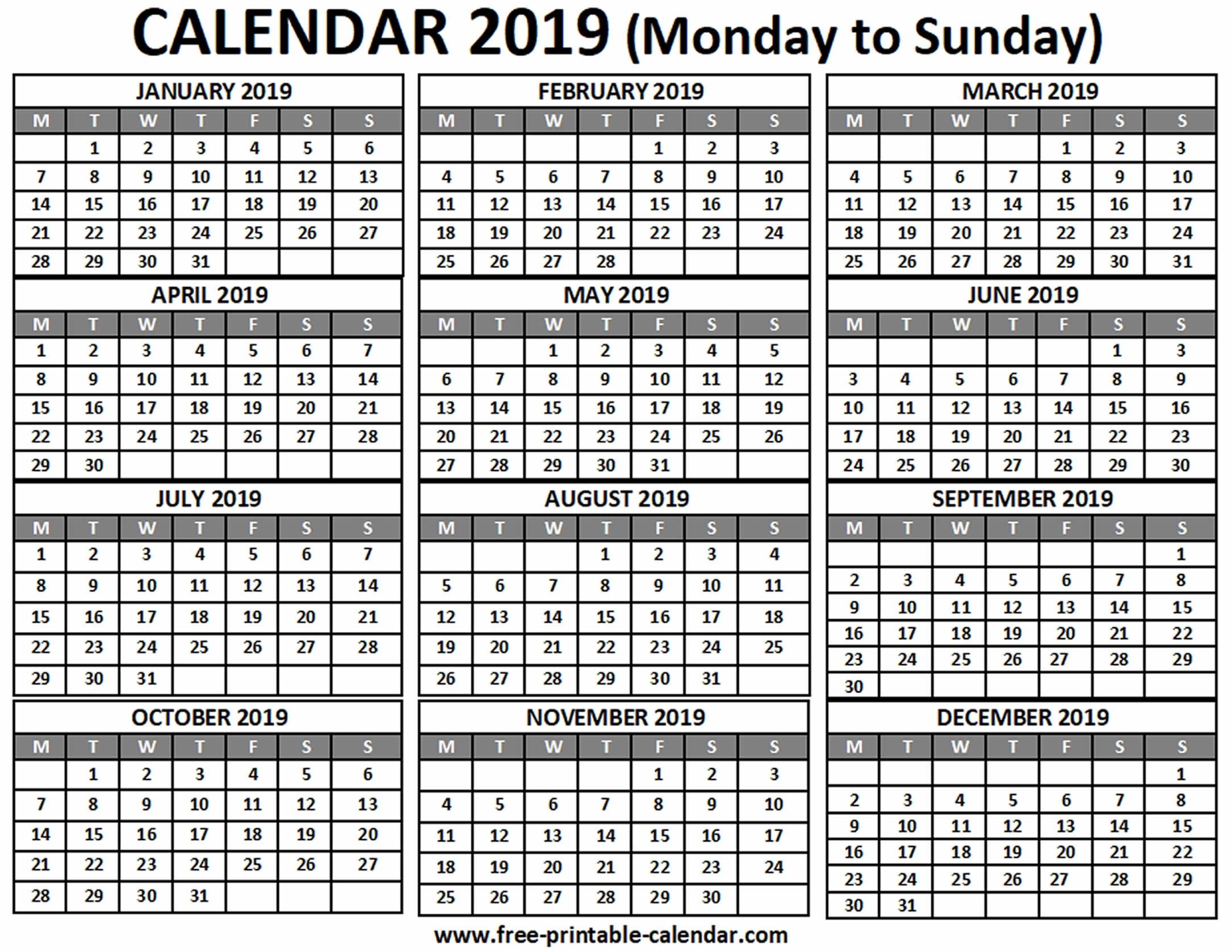 2019 Calendar - Free-Printable-Calendar