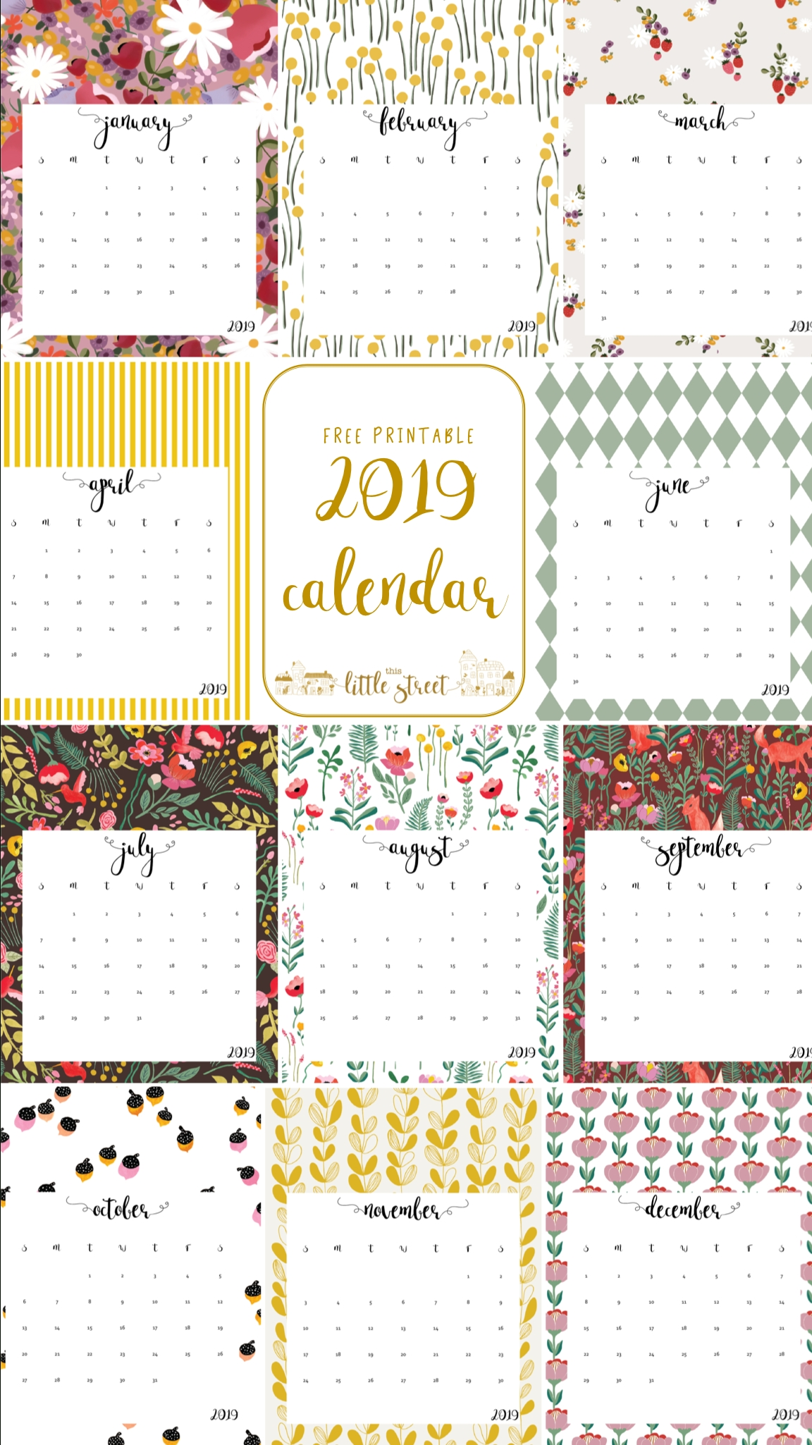 2019 Calendar - Free Printable! | This Little Street : This
