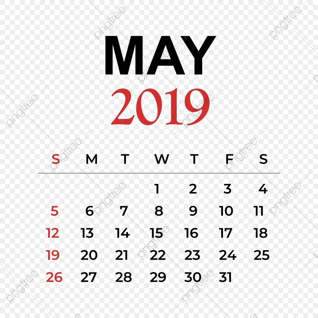 2019 Calendar May Month, Calendar, Year, Week Png And Vector