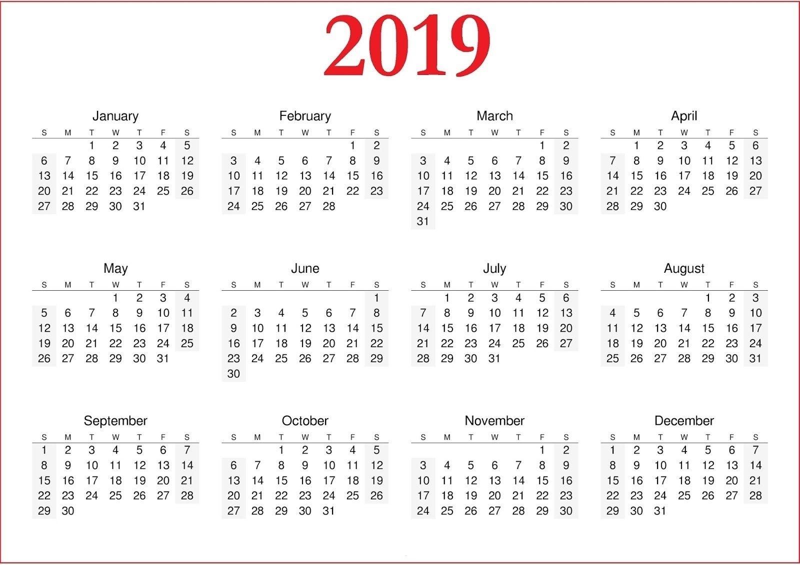 2019 Calendar Printable Nz | Free Calendar Template