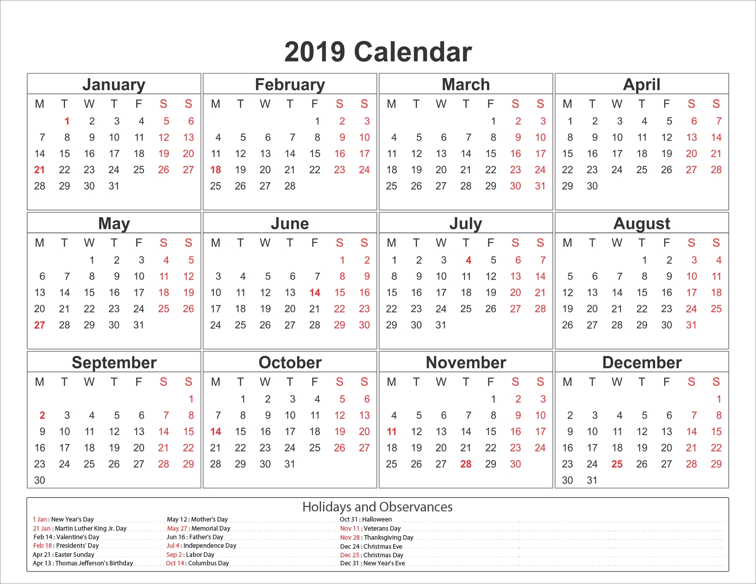 2019 Calendar Template And Printable #2019Calendar
