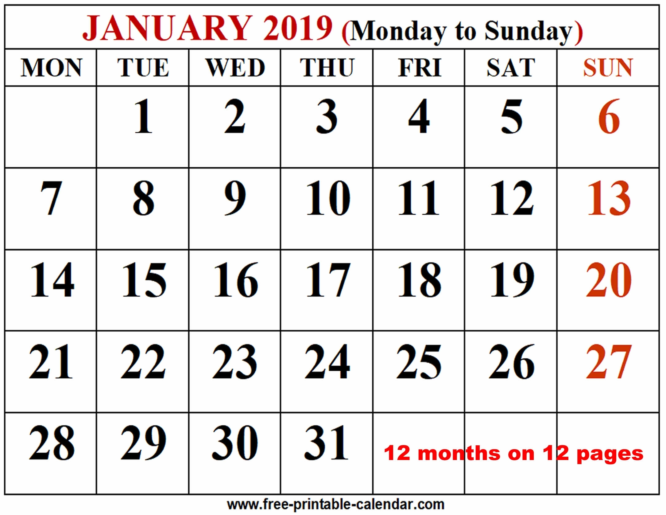 2019 Calendar Template - Free-Printable-Calendar