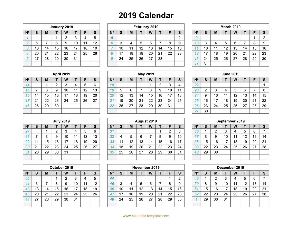 2019 Calendar Template On One Page