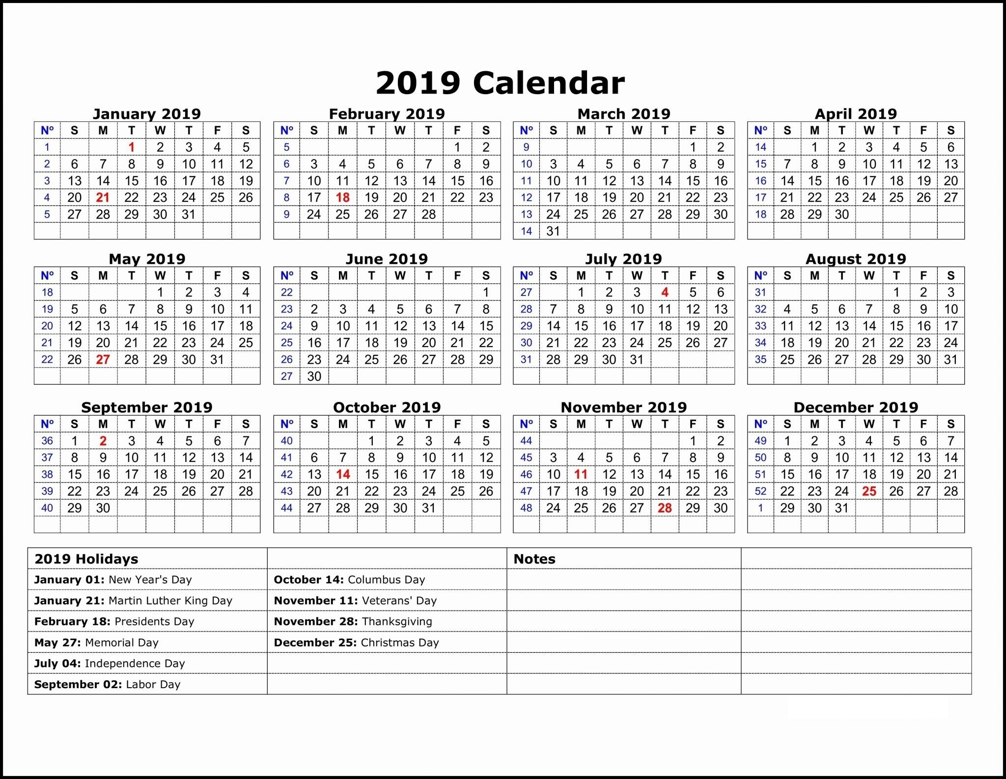 2019 Calendar Template One Page   Printable Calendar